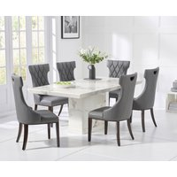Carvelle 200cm White Pedestal Marble Dining Table with Freya Chairs