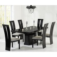 Product photograph showing Carvelle 200cm Black Pedestal Marble Dining Table With Verbier Chairs