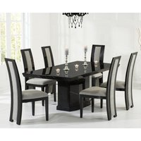 Product photograph showing Carvelle 160cm Black Pedestal Marble Dining Table With Raphael Chairs