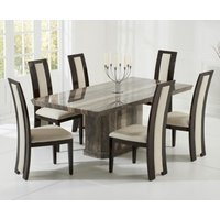 Product photograph showing Carvelle 160cm Brown Pedestal Marble Dining Table With Raphael Chairs