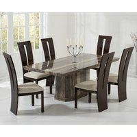 Product photograph showing Carvelle 160cm Brown Pedestal Marble Dining Table With Verbier Chairs