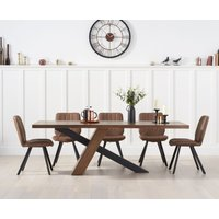 Product photograph showing Chateau 180cm Black Leg Dining Table With Dali Faux Leather Dining Chairs