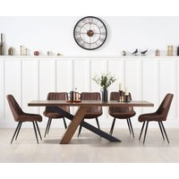 Product photograph showing Chateau 180cm Black Leg Dining Table With Marcel Antique Chairs