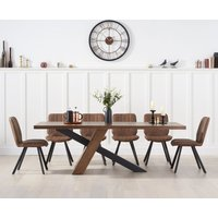 Chateau 225cm Black Leg Dining Table with Dali Faux Leather Dining Chairs