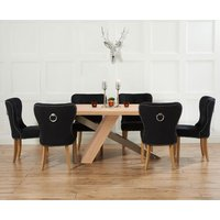 Product photograph showing Chateau 180cm Oak And Metal Dining Table With Knightsbridge Fabric Chairs
