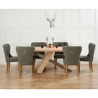 Product photograph showing Chateau 180cm Oak And Metal Dining Table With Charcoal Grey Knightsbridge Fabric Chairs