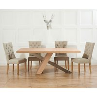 Product photograph showing Chateau 180cm Oak And Metal Dining Table With Anais Fabric Chairs
