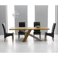 Product photograph showing Chateau 180cm Oak And Metal Dining Table With Cannes Chairs