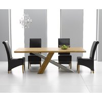 Product photograph showing Chateau 180cm Oak And Metal Dining Table With Black Kentucky Chairs