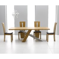 Product photograph showing Chateau 180cm Oak And Metal Dining Table With Montreal Chairs