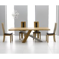 Product photograph showing Chateau 180cm Oak And Metal Dining Table With Toronto Chairs