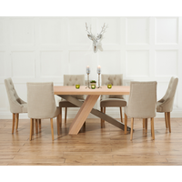 Product photograph showing Chateau 180cm Oak And Metal Dining Table With Beige Pacific Fabric Chairs