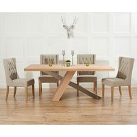 Product photograph showing Chateau 180cm Oak And Metal Dining Table With Beige Safia Fabric Chairs