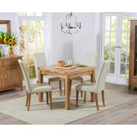 Cheadle 90cm Oak Extending Dining Table with Cream Albany