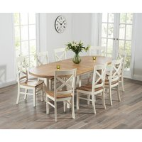 Product photograph showing Chelsea Oak Cream Extending Dining Table With Cavendish Chairs