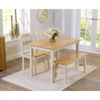 Product photograph showing Chiltern 114cm Oak And Cream Dining Table With Bench And Chairs