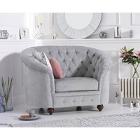 Read more about Cara chesterfield grey plush fabric armchair