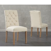 Product photograph showing Candice Cream Fabric Dining Chairs Pairs