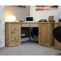 Product photograph showing Reno Oak Corner Computer Desk