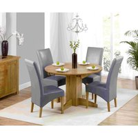 Dorchester 120cm Solid Oak Round  Extending Dining Table with Cannes Chairs