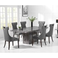 Crema 160cm Grey Marble Dining Table with Freya Chairs