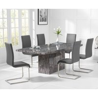 Read more about Crema 160cm grey marble dining table with malaga chairs