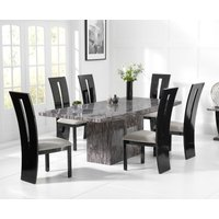 Read more about Crema 160cm grey marble dining table with verbier chairs