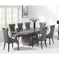 Crema 220cm Grey Marble Dining Table with Freya Chairs
