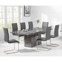 Read more about Crema 180cm grey marble dining table with malaga chairs
