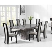 Crema 220cm Grey Marble Dining Table with Raphael Chairs