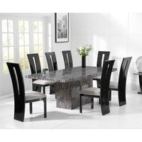 Crema 220cm Grey Marble Dining Table with Verbier Chairs