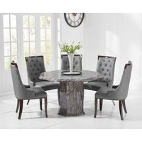 Read more about Crema octagonal grey marble dining table with angelica chairs