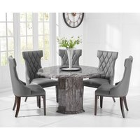 Product photograph showing Crema Octagonal Grey Marble Dining Table With Freya Chairs