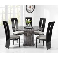 Read more about Crema octagonal grey marble dining table with verbier chairs
