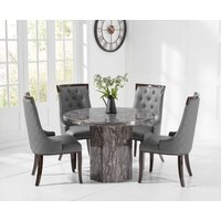Crema Round Grey Marble Dining Table with Angelica Chairs