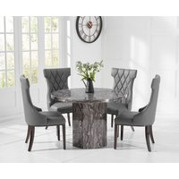 Crema Round Grey Marble Dining Table with Freya Chairs