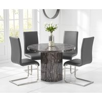 Crema Grey Round Marble Dining Table with Malaga Chairs