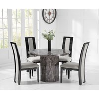 Crema Round Grey Marble Dining Table with Raphael Chairs