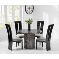 Crema Round Grey Marble Dining Table with Verbier Chairs