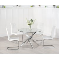 Read more about Denver 110cm glass dining table with tarin chairs