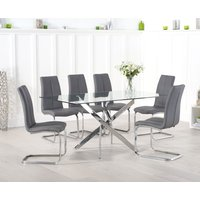 Read more about Denver 160cm glass dining table with tarin chairs