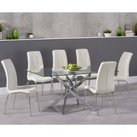 Read more about Denver 160cm glass dining table with calgary chairs