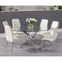 Product photograph showing Denver 165cm Glass Dining Table With Calgary Chairs