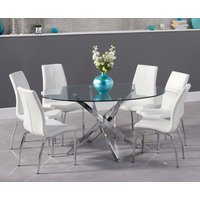 Read more about Denver 165cm glass dining table with cavello chairs