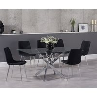 Read more about Denver 160cm glass dining table with hamburg fabric chrome leg chairs