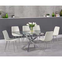 Read more about Denver 160cm glass dining table with hamburg faux leather chrome leg chairs
