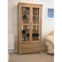 Product photograph showing Opus Oak And Glass Display Cabinet