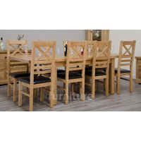 Read more about Deluxe 150cm dual extending solid oak dining table with chairs