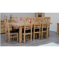 Read more about Deluxe 180cm dual extending solid oak dining table with ladderback chairs