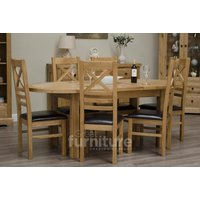 Read more about Deluxe oval dual extending solid oak dining table with ladderback chairs